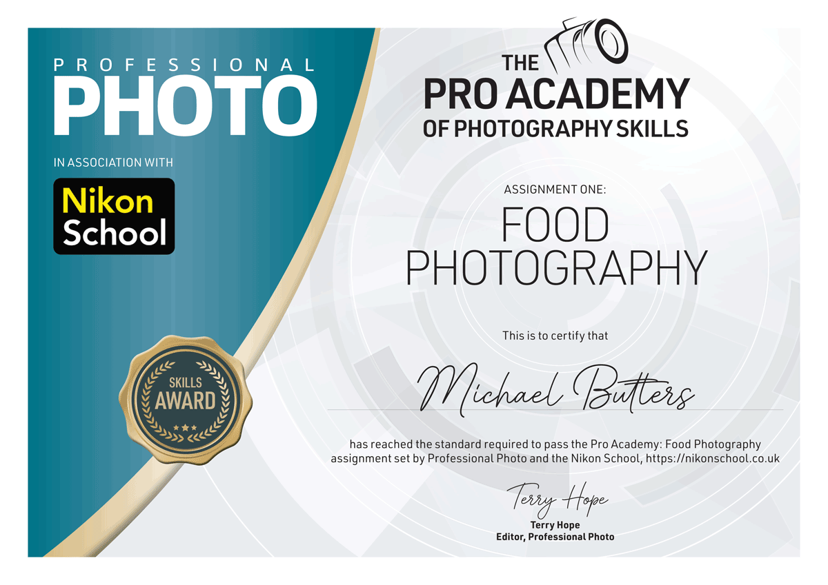 Michael-Butters_Pro_Academy_FoodCertificate